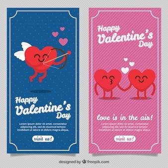 Bandeiras decorativas com corações bonitos para dia dos namorados