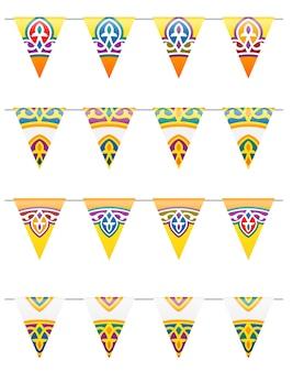 Bandeiras decorativas tradicionais coloridas do ramadã
