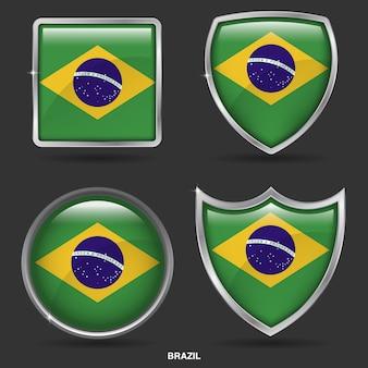 Bandeiras do brasil em 4 ícone de forma
