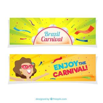 Bandeiras do carnaval brasileiro coloridas no design plano