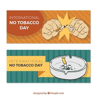 Bandeiras do dia anti-tabagismo com cinzeiro