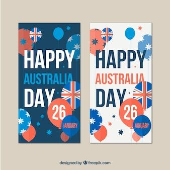 Bandeiras do dia austrália com balões azuis e vermelhos