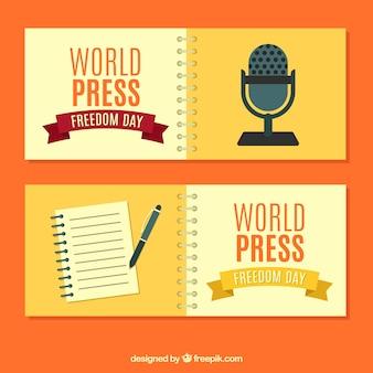 Bandeiras do dia da imprensa mundial com elementos tradicionais