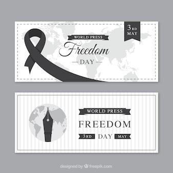 Bandeiras do dia da liberdade da imprensa mundial com elementos pretos