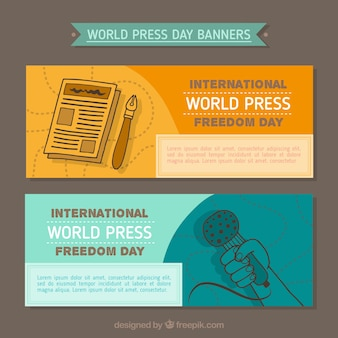 Bandeiras do dia da liberdade de imprensa mundial no estilo hand-drawn