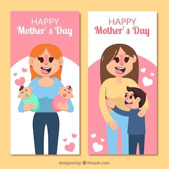 Bandeiras do dia das mães de mulheres orgulhosas em design plano