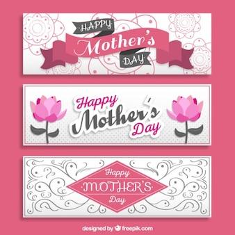 Bandeiras do dia das mães ornamentais