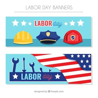 Bandeiras do dia de trabalho dos eua com design plano