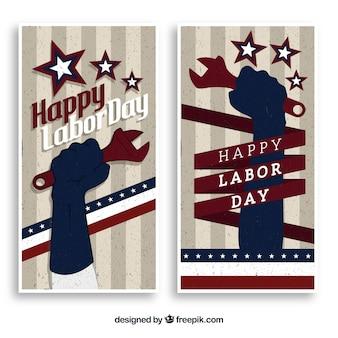 Bandeiras do dia de trabalho dos eua com estilo vintage