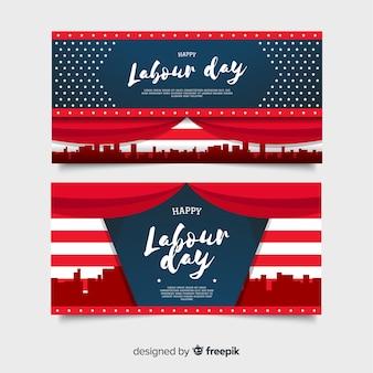 Bandeiras do dia de trabalho dos eua em estilo simples