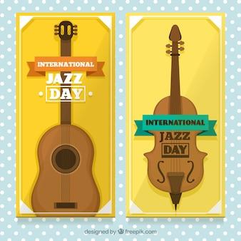 Bandeiras do dia do jazz amarelo vintage