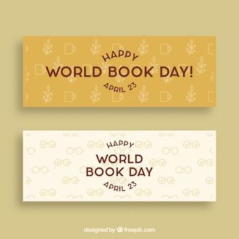 Bandeiras do dia do livro mundial em estilo vintage