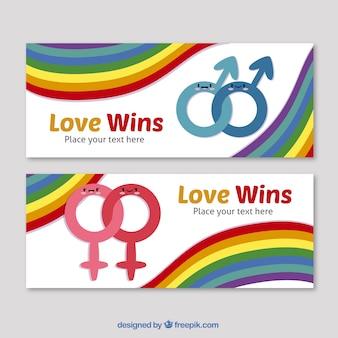 Bandeiras do dia do orgulho com símbolos do género