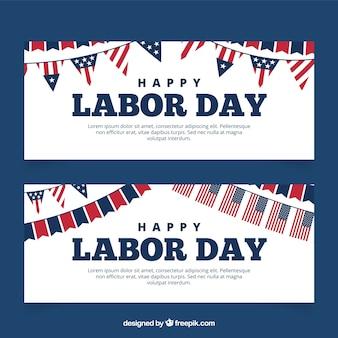 Bandeiras do dia do trabalho com bandeiras americanas