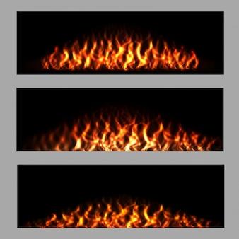 Bandeiras do incêndio ajustados