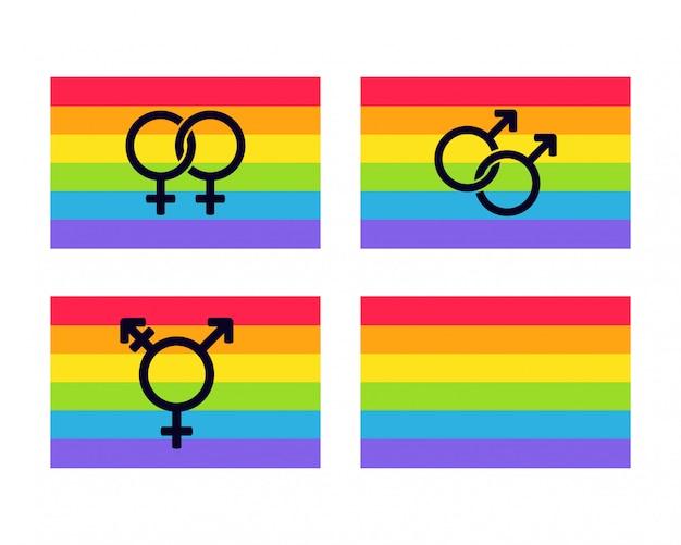 Bandeiras do orgulho do arco-íris conjunto com símbolos de gênero