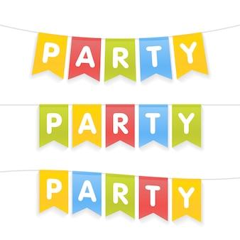Bandeiras do partido letras para festa de crianças