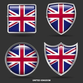 Bandeiras do reino unido em 4 ícone de forma