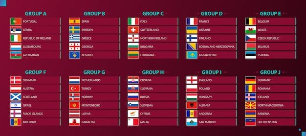 Bandeiras do torneio de futebol classificadas por grupo, bandeiras de países europeus. ilustração vetorial.