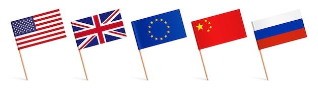 Bandeiras do vetor mundial com varas de madeira