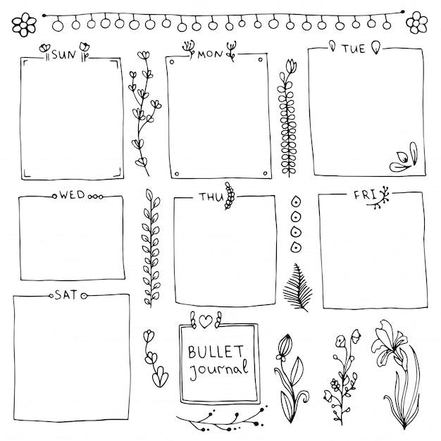 Bandeiras doodle isoladas no fundo branco. dias da semana, notas, molduras, divisórias.