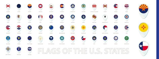 Bandeiras dos estados dos eua classificadas em ordem alfabética design de ícones de alfinetes azuis