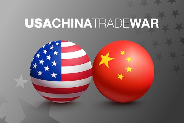 Bandeiras dos estados unidos da américa e da china em forma de bola. conceito de guerra comercial entre a china e os eua. ilustração vetorial