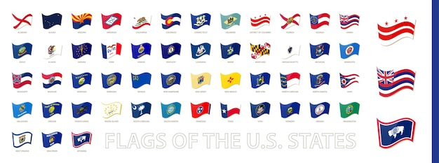 Bandeiras dos estados unidos da américa, estados dos eua acenando a coleção de bandeiras. conjunto de vetores.