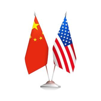 Bandeiras dos eua e da china, isoladas no fundo branco. ilustração vetorial