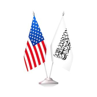Bandeiras dos eua e do emirado islâmico do afeganistão. ilustração vetorial isolada em fundo branco
