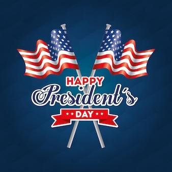 Bandeiras dos eua feliz dia dos presidentes cartão