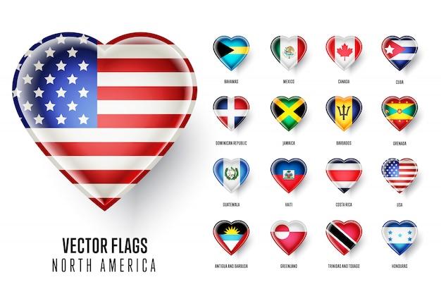 Bandeiras dos países da américa do norte