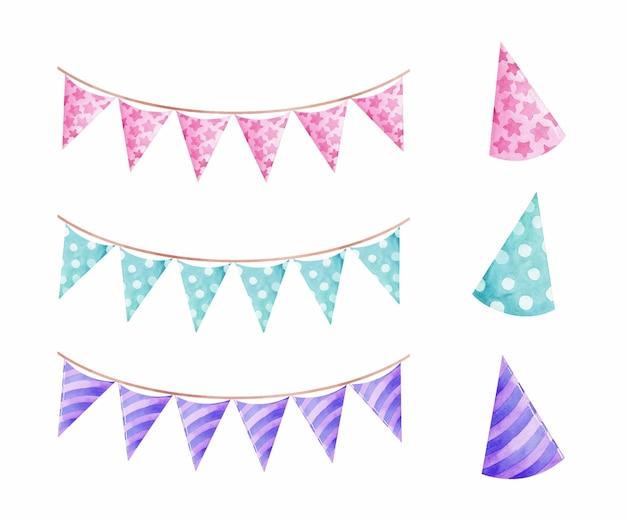 Bandeiras e chapéus de festa em aquarela, guirlanda em cor pastel isolada