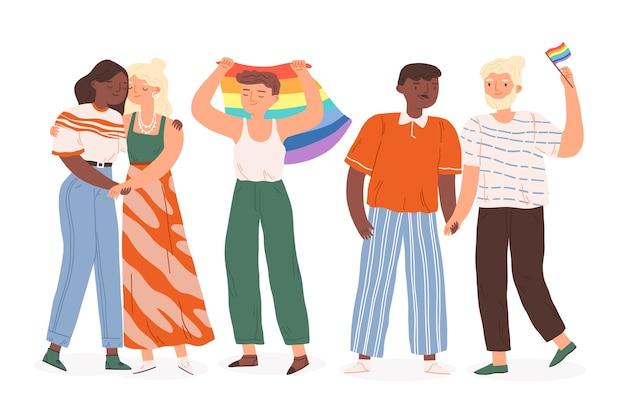 Bandeiras e pessoas felizes do orgulho