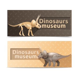 Bandeiras e placas horizontais do museu dos dinossauros do triceratops