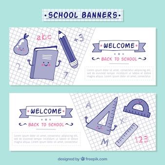 Bandeiras encantadoras com material escolar