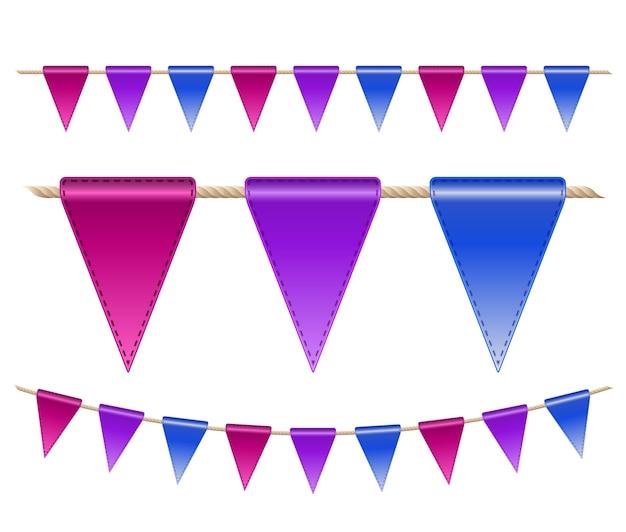 Bandeiras festivas em fundo branco. ilustração