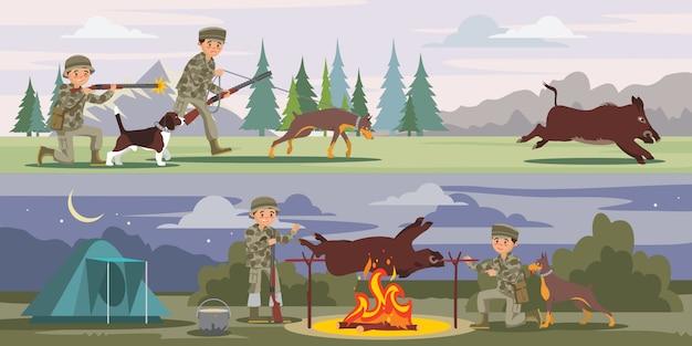 Bandeiras horizontais de caça