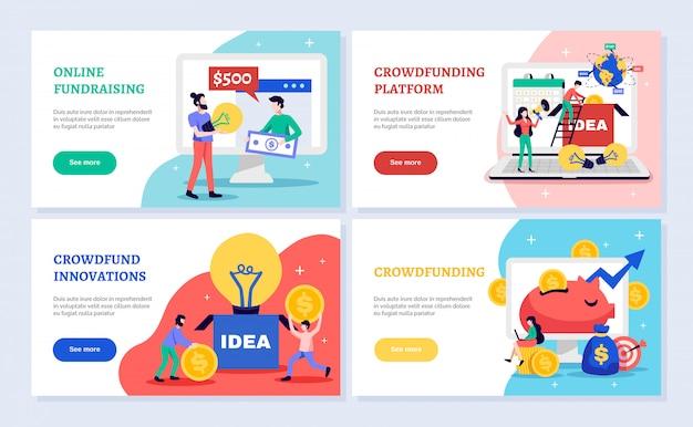 Bandeiras horizontais de crowdfunding conjunto com ilustração isolada plana de símbolos de captação de recursos