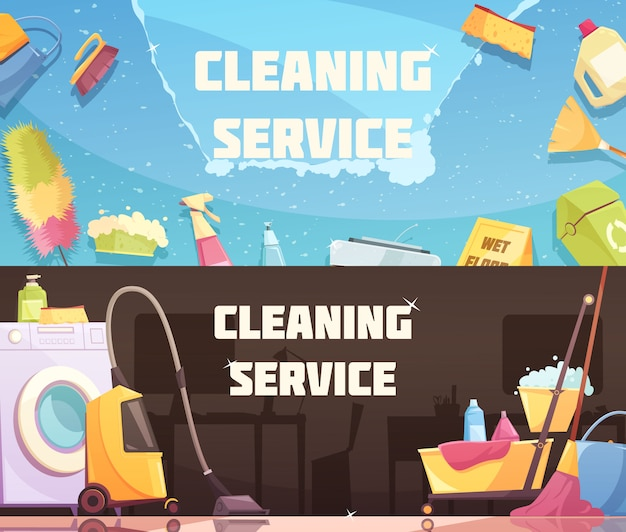 Bandeiras horizontais de serviço de limpeza