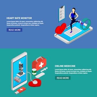 Bandeiras horizontais isométricas de medicina móvel conjunto com ilustração em vetor símbolos monitor cardíaco