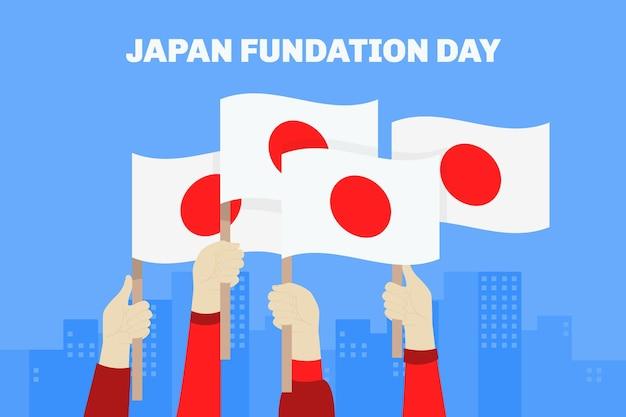 Bandeiras ilustradas do dia da fundação plana