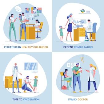 Bandeiras inovadoras de pediatria e cuidados familiares