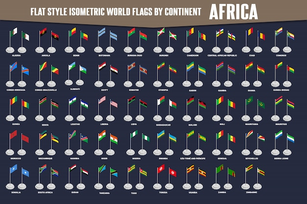 Bandeiras isométricas de estilo simples de país de áfrica