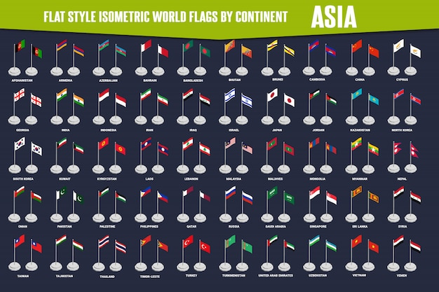 Bandeiras isométricas de estilo simples país da ásia