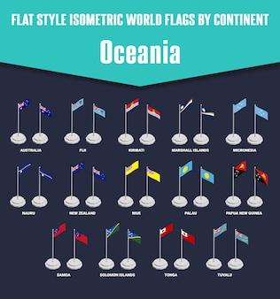 Bandeiras isométricas de estilo simples país oceania