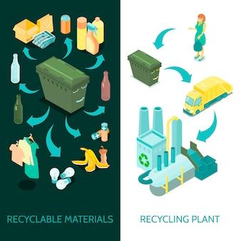 Bandeiras isométricas de reciclagem de lixo