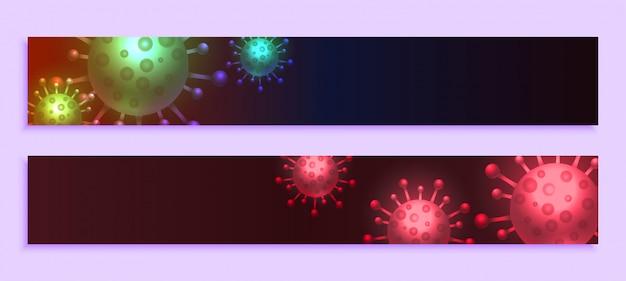 Bandeiras largas de coronavírus com design de espaço de texto