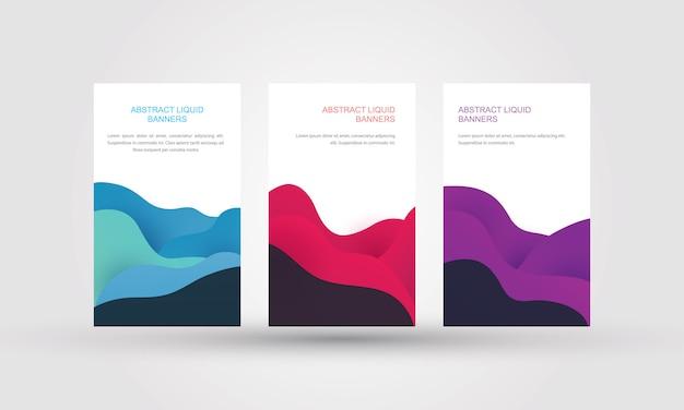 Bandeiras líquidas abstratas com gradiente, forma de cor fluida