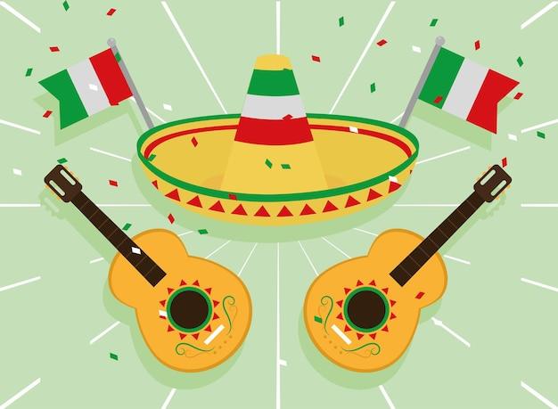 Bandeiras mexicanas com chapéu